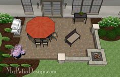 """440 sq. ft. of Outdoor Living Space. Areas for Outdoor Dining and Fire Pit with Seating. Built-In 56"""" Square Fire Pit (plan included). view fi"""