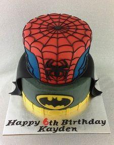 Batman, Spiderman, Batman and Spiderman cake