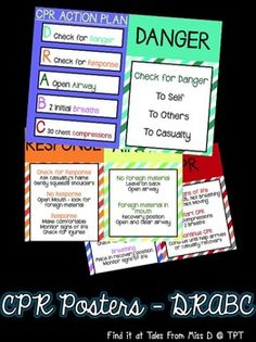 These 6 CPR posters are great for teaching your students how to respond to an emergency and save a person's life. Print and display them on the wall of your classroom and discuss a CPR Action Plan with your class.  Posters included are:  CPR Action Plan Danger Response Airway Breathing CPR
