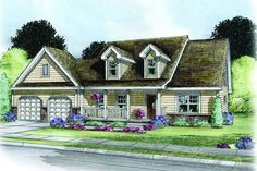 Cape Cod Home Plan: ROCKLAND   |   1,831 Square Feet of Living Area  |  3 Bedroom  |  2.5 Bathrooms