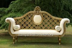 GOLD LEAF AND CREAM MEDIUM SIZED HAMPSHIRE CHAISE | Hampshire Barn Interiors - Part 27