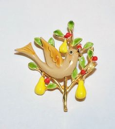 1890~Vintage Signed ART Goldtone Christmas Patridge In A Pear Tree Brooch Pin** #ART