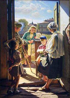 """Александр Лактионов  """"Письмо с фронта"""", 1947"""