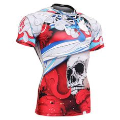 Mens Compression Shirts Bodybuilding Skin Tight Short Sleeve Jerseys Rashguard