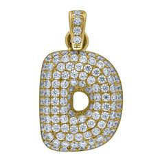 """Yellow Gold Iced Out Cubic Zirconia Mens Womens Bubble Initial Letter """"D"""" Charm PendantItem Number - from Yellow GoldWidth: inches ; Length: inchesGift box Yellow Gold Iced Out Cz Mens Womens Bubble Initial Letter """"D"""" Charm Pendant Letter D, Initial Letters, Letter Pendants, Initials, Most Beautiful, Bubbles, Charmed, Jewels, Yellow"""