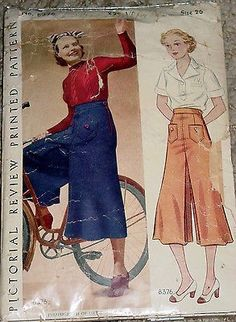 Pictorial Review 8376 | 1930s Culottes Divided Skirt Pattern