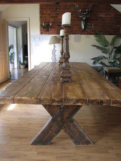 Demolition Style Reclaimed Wood Cross Brace Dining Table