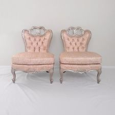 2 FRENCH provincial Rococo pink satin princess silver finish slipper chairs vtg