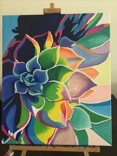 Flower Painting Canvas, Cactus Painting, Easy Canvas Art, Indian Art Paintings, Guache, Cool Art Drawings, Whimsical Art, Flower Art, Echeveria