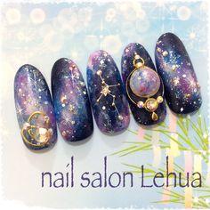 Constellations nails - New Ideas Gorgeous Nails, Love Nails, Pretty Nails, Nail Swag, Asian Nails, Asian Nail Art, Galaxy Nail Art, Sky Nails, Gradient Nails