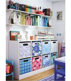 craft room inspiration - I gotta do something! Diy Storage Boxes, Craft Room Storage, Bedroom Storage, Room Organization, Storage Ideas, Craft Rooms, Storage Cubes, Fabric Storage, Bedroom Setup