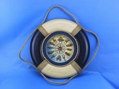 "Blue Antique Lifering Clock 18"" from Handcrafted Nautical Decor - In stock and ready to ship"