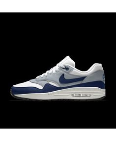 new products 6e152 982e2 Nike Air Max 1 Mens Essential Id Blue White Grey Shoes Outlet Mens Grey  Shoes,