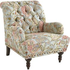 Pier 1 Imports Chas Floral Armchair ($500) ❤ liked on Polyvore featuring home, furniture, chairs, accent chairs, chair, blue, blue chair, tufted nailhead chair, blue arm chair and blue accent chair