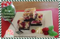 Baked Christmas Cheesecake Slice | Stay at Home Mum