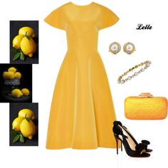 """Rosie Assoulin Yellow Buttercup Dress"" by lellelelle on Polyvore"