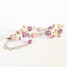 Shabby Chic Floral Pink and Purple Bracelet with by JewelsofJane, $14.00