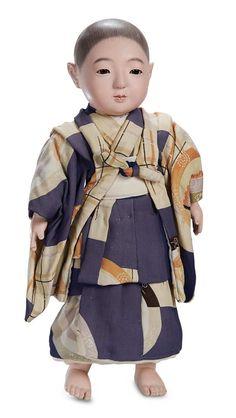 Kaleidoscope: 467 Smaller Japanese Paper Mache Ichimatsu Doll in Original Costume and Box