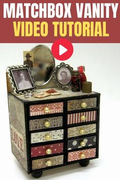 Build a drawer vanity from empty match boxes! Easy altered art craft project to make for your craft room or a special girl in your life Craft Projects For Adults, Easy Craft Projects, Arts And Crafts Projects, Easy Diy Crafts, Diy Crafts Videos, Craft Tutorials, Matchbox Crafts, Creative Arts And Crafts, Shabby Chic Crafts