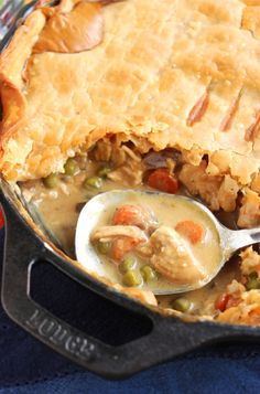 Skillet Chicken Pot Pie | The Suburban Soapbox I love the idea of using the cast iron skillet. This is how I'm going to make pot pies this Fall and Winter.