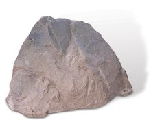 """Riverbed Mountain Rock Enclosure 18"""" H x 23"""" W x 30"""" L. This enclosure is a subtle way to hide small to medium sized objects. Unattractive pond filters, valve box lids, aeration devices and septic pipes up to 12 inches tall are no longer a problem with this realistically shaped rock."""