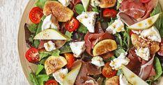 Δείτε τώρα τη συνταγή για Σαλάτα με Σύκα, Προσούτο, Αχλάδι και Κατσικίσιο Τυρί και εντυπωσιάστε τους όλους. Δοκιμασμένη συνταγή με όλα τα βήματα αναλυτικά! Salad Bar, Cobb Salad, Dips, Always Hungry, Dressing Recipe, Caprese Salad, Cantaloupe, Salad Recipes, Fruit