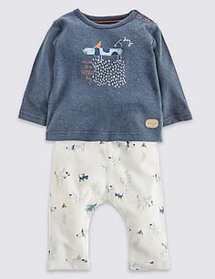 2 Piece Pure Cotton Printed T-Shirt & Joggers
