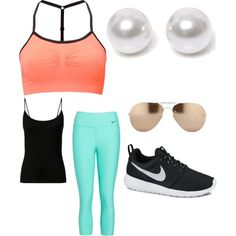Runnin. by torrie-raines on Polyvore featuring polyvore, fashion, style, Sweaty Betty, NIKE, Nouv-Elle and Linda Farrow