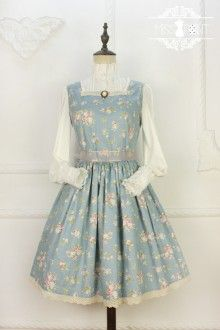 Miss Point Rose Song Vintage Country Style Floral Classic Lolita Strap Dress