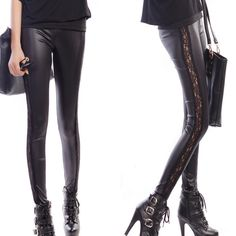 #fashion #moda #accessories Women black leath... is now in stock. http://modatendone.co.uk/products/women-black-leather-leggings-slim-fit-shiny-lace-pants?utm_campaign=social_autopilot&utm_source=pin&utm_medium=pin