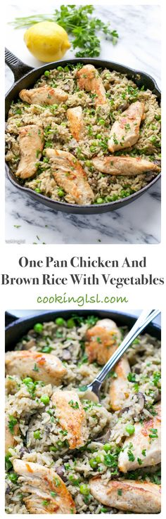 One Pan Chicken and Brown Rice with Vegetables...easy dinner recipe for busy families!