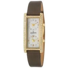 @Overstock - A dual time zone is displayed on this Skagen Glitz wristwatch. This women's casual watch is completed by a goldplated stainless steel case and brown satin strap.http://www.overstock.com/Jewelry-Watches/Skagen-Womens-Glitz-Yellow-Goldplated-Stainless-Steel-and-Brown-Satin-Swarovski-Crystals-Quartz-Watch/6178232/product.html?CID=214117 $106.99