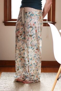 noodlehead: shirred voile pajama pants: DIY tutorial