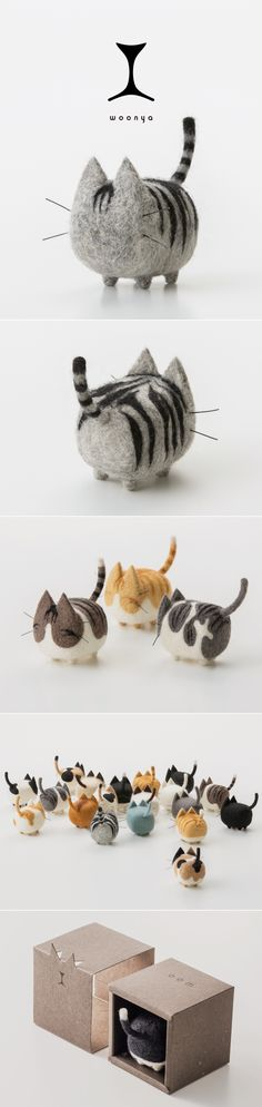 Probably the cutest thing I ever saw. woonya/ 猫/cat/羊毛フェルト/Needle/Felting/mascot/doll/home/style/products/art/designProbably the cutest thing I ever saw. woonya/ 猫/cat/羊毛フェルト/Needle/Felting/mascot/doll/home/style/products/art/design Cat Crafts, Kids Crafts, Diy And Crafts, Arts And Crafts, Sewing Crafts, Needle Felted Animals, Felt Animals, Wet Felting, Needle Felting