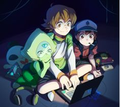 Peridot from Steven Universe, Pidge from Voltron, and Dipper from Gravity Falls. Gravity Falls Crossover, Gravity Falls Anime, Fandom Crossover, Anime Crossover, Gravity Falls Cosplay, Best Crossover, Voltron Klance, Fanart, Steven Universe
