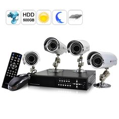 ExtraSecure Surveillance Kit Advanced Revision- (H264 DVR + 4 CMOS Weatherproof IP Camera + 500GB HDD)