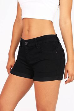"""The perfect fit mid rise denim shorts for any wardrobe. Traditional 5 pockets with button and zip fly closure. Great stretch in the material for a comfortable fit. Pairs well with any fitted or flowy top. Super comfortable! *Machine Wash Cold *75% Cotton/23% Polyester/2% Spandex *10.5""""/27 cm Top to Bottom 2.5""""/6.5 cm Inseam (Size Medium) Model is 5'7 and Wearing a Size Small *Refer to Size Chart #2 *Imported Black Denim Shorts, Casual Shorts, Jean Shorts, Flowy Tops, Fashion Sewing, High Waisted Shorts, Patterned Shorts, Trendy Fashion, Summer Outfits"""