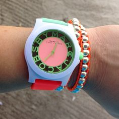 """""""Talk about some serious #wristcandy #ilovecolor @marcjacobsintl // #skeletonwatch by my fav #marcjacobs"""""""