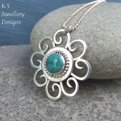 Turquoise Sterling Silver Sun Swirl Pendant - Gemstone Handmade Summer £60.00