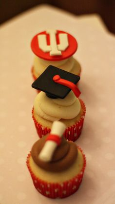Fondant Graduation Toppers Including Caps, Diplomas and Your School's Logo for Decorating Cupcakes, Cookies or Mini Cakes on Etsy, $21.00