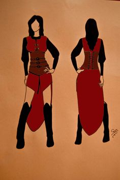 Larp Costume Sketch by ~MurielTailorcraft on deviantART. I am REALLY digging this look for my elf character T'ian...when she grows up a bit. :)