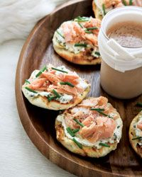 Smoked-Trout-and-Caper-Cream-Cheese Toasts | Brunch for a Crowd: For a delicious take on the classic combination of bagels with lox, these fast brunch toasts are topped with chive-and-caper cream cheese and less-expensive smoked trout.