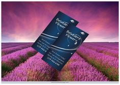 Florist: Warren used Photoshop to give the illusion of two vertical business cards seemingly aloft above a lavender field.