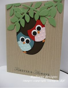 MyDiane Designs, Stampin' Up!, Punch Art, Owls, handmade cards - kmk