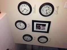 Clock with the names and times of birth...love it !!