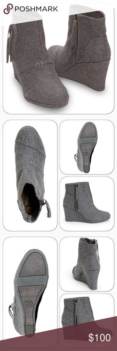 NWT TOMS Grey Desert High Wool Wedge Brand new, never worn and still in the box.  PRODUCT DESCRIPTION: This refined wool bootie boosts your style with a lofty heel. A side zipper allows for easy on and off.   Size note: TOMS run true to size. If you're typically in-between sizes, TOMS recommends ordering smaller since TOMS shoes will stretch with wear.  3.25'' heel Side zip closure Man-made upper Cushioned suede insole Rubber sole Imported TOMS Shoes Wedges