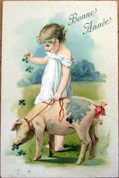 1907 New Year Postcard Pig Young Girl Embossed Color Litho | eBay