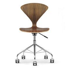 Norman Cherner Office Task Chair Swivel Base Natural Walnut Seat | Stardust