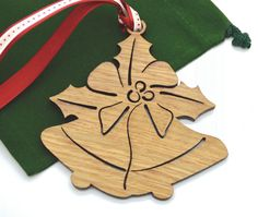 Wooden Christmas Ornament  Holiday Bells by AllThisWood on Etsy
