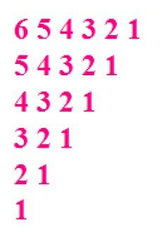 Java Code To Reverse Order Triangle Number Patterns Number